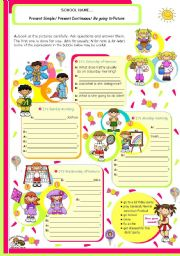 English worksheet: Grammar worksheet on 3 Verb tenses: Simple Present, Present Continuous and Be going to Future for Upper Elementary or Lower Intermediate students