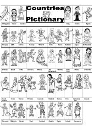English Worksheet: COUNTRIES PICTIONARY
