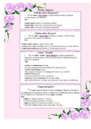 English Worksheet: Wish clauses( Explanation, exercise and conversation card)