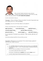 English Worksheet: Mr Bean�s sandwich - writing exercise