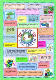 English Worksheet: SAVE PLANET EARTH - TIPS