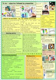 English Worksheets: to be+adjective+preposition