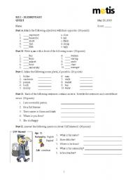 English worksheet: Elementary Quiz