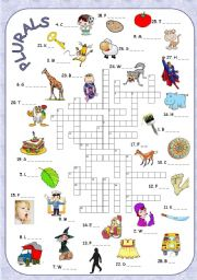 English Worksheet: Nouns in the plural + crossword