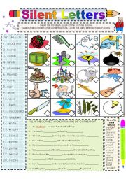 English Worksheet: Working with Words that Have Silent Letters