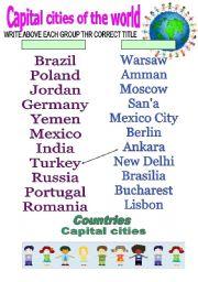 English Worksheet: CAPITAL CITIES 2