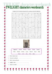 English worksheet: Twilight Characters Wordsearch