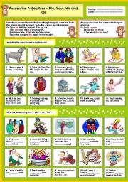 English Worksheet: Possessive adjectives - My, Your,His and Her