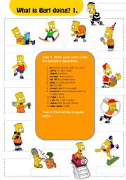English Worksheets: Actions: What is Bart doing? 1/3