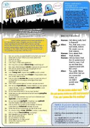 English Worksheet: Ask The Aliens. Question&Answer (Role Play+Vocab Exercises w Solutions)
