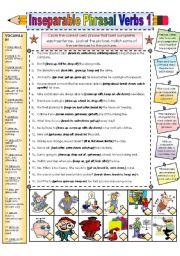 English Worksheets: Inseparable Phrasal Verbss