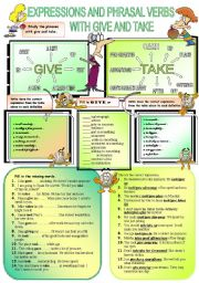 English Worksheets: Expressions with give and take