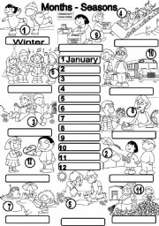 English Worksheet: MONTHS-SEASONS