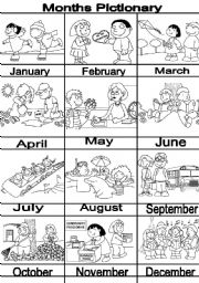 English Worksheet: MONTHS pictionary