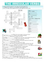 IRREGULAR VERBS - CROSSWORD AND FILL-IN-THE-GAPS EXERCISE