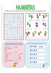English Worksheet: NUMBERS AND BEFORE-AFTER!