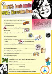 English Worksheet: Song Listening Exercise: Janis Joplin - Mercedes Benz (+Vocabulary Exercises w Solutions)