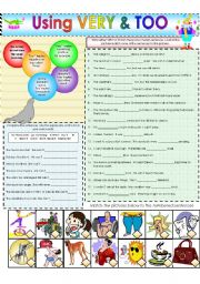 English Worksheet: VERY & TOO