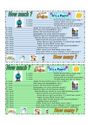 English Worksheet: How much ? How many ? - SPEAKING