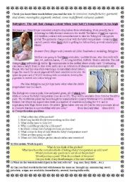 English Worksheet: Babygrows which show rise in baby�s temperature, called BABYGLOWS