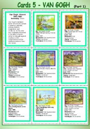 English Worksheet: Cards 5 - Van Gogh  (Part 1)