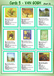 English Worksheet: Cards 5 - Van Gogh (Part 2)
