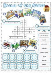 English Worksheets: Rooms of the house