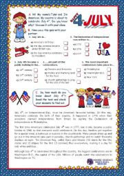English Worksheet: July 4th - Happy Birthday America - Quiz + Reading comprehension for Elementary and Lower intermediate students