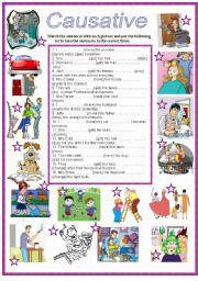 English Worksheet: Causative get ,make,have -part 2