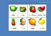 English Worksheet: Fruit Pronunciation Cards Game