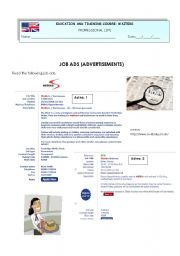English Worksheets: Job ads (for waiters)