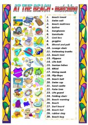 English Worksheet: AT THE BEACH - MATCHING EXERCISE