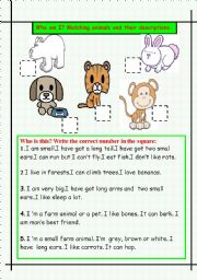 English Worksheet: Animals and description