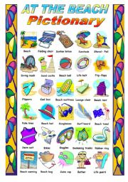 English Worksheet: AT THE BEACH  - PICTIONARY