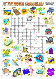 English Worksheet: AT THE BEACH - CROSSWORD