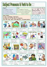 English Worksheet: Subject Pronouns & Verb to Be