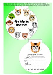 English worksheet: original 10-paged ANIMAL MINIBOOK + 5 exercises -  read + vocab + rephrase... EDITABLE ((7 pages))