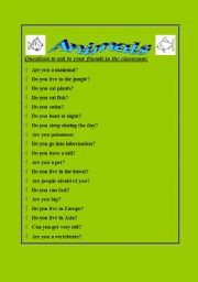 English worksheet: Animal questions