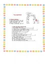 English worksheet: tag questions