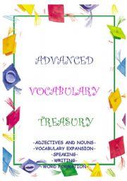 English Worksheet: ADVANCED VOCABULARY TREASURY - word games