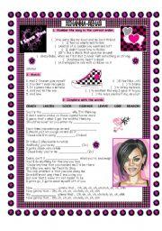 English Worksheets: Rihanna - Rehab Mixed Exercises