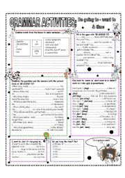 English Worksheet: GRAMMAR ACTIVITIES HANDOUT - BE GOING TO - WANT TO - TIME