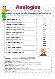 English worksheet: Analogies - word relationships