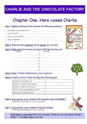 English Worksheet: Reading + Activity worksheet : Charlie and the chocolate factory