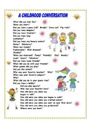 English Worksheet: Conversation about your childhood