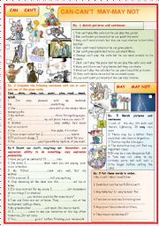 English Worksheet: CAN  and  MAY