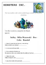 English Worksheets: Movie Session:  Monsters Inc. - 2 pages -