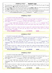 English Worksheet: a short reading test on animals