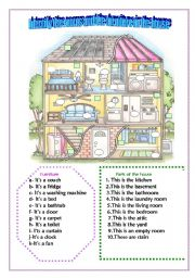 English Worksheet: Identify the parts of the house and the furniture