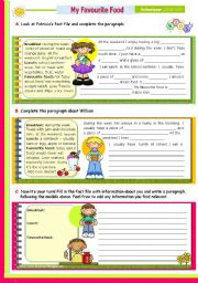 English Worksheet: Writing Series (13) - My Favourite Food  - for Upper elementary or Intermediate students